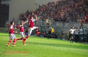 Komazec celebrates his vital goal against JDT in the AFC Cup - JRP Borthwick